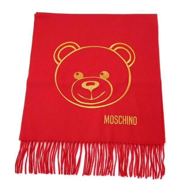 【MOSCHINO】泰迪熊臉純羊毛寬版流蘇圍巾(007 紅色)
