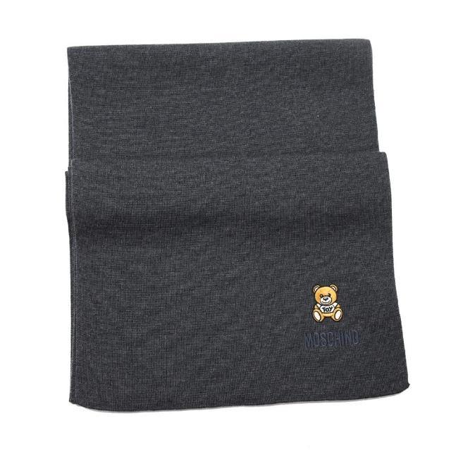 【MOSCHINO】刺繡泰迪熊純羊毛圍巾(015 深灰)
