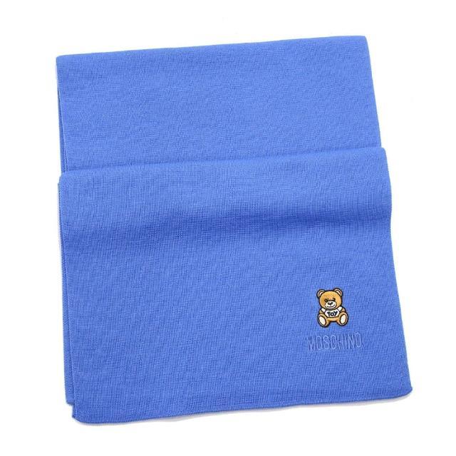 【MOSCHINO】刺繡泰迪熊純羊毛圍巾(012 寶藍)
