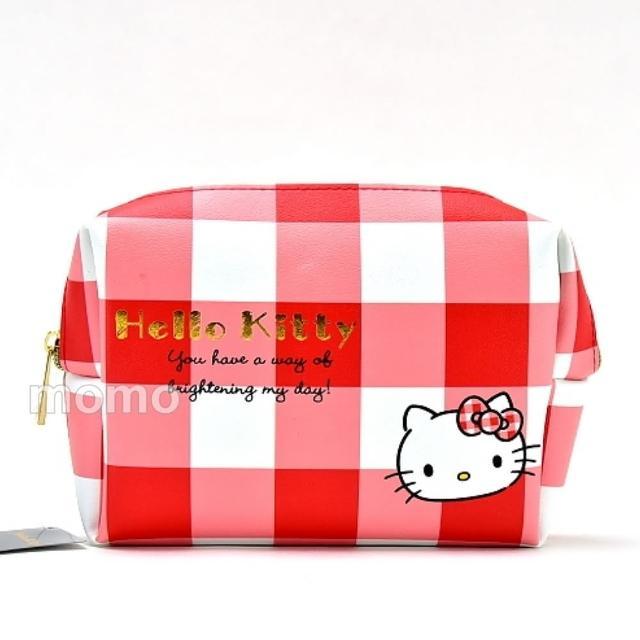 【SANRIO 三麗鷗】格紋Kitty-PU皮革手拿包