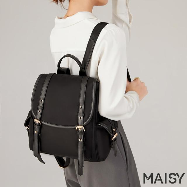 【MAISY】輕便優雅牛津布雙肩後背包(現+預 淺灰色 / 紫色 / 綠色 / 黑色)