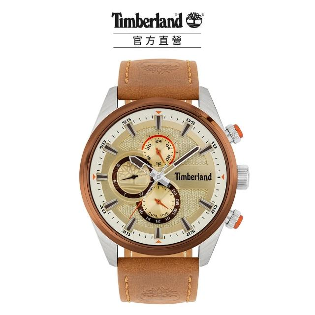 【Timberland】男款 RIDGEVIEW系列 戶外多功能腕錶 皮帶-米/棕46mm(TBL.15953JSTBN/04)