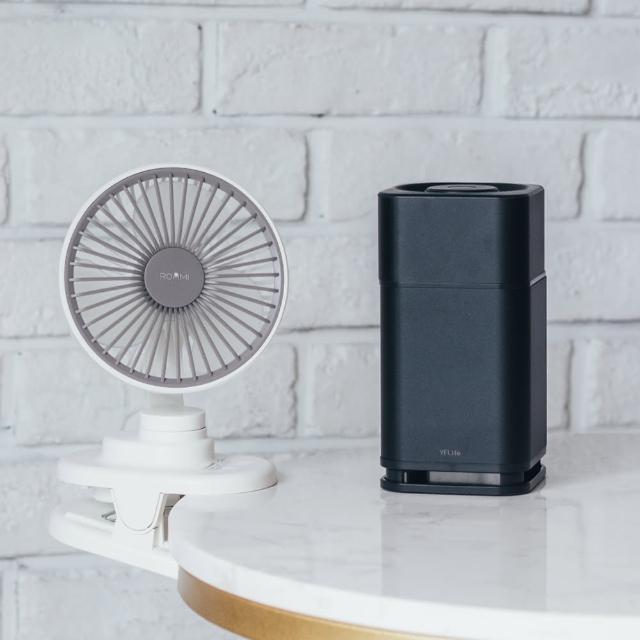 【Roommi】3D小旋風迷你夾扇+AIR6 奈米光觸媒負離子 雙效空氣淨化器