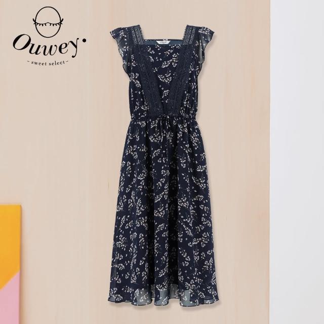 【OUWEY 歐薇】浪漫水溶蕾絲方領碎花雪紡洋裝3212087462(深藍)