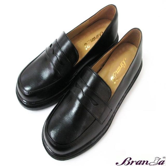 【Branda】MIT全牛皮素面學院風學生鞋(牛皮軟墊防滑底學生鞋)