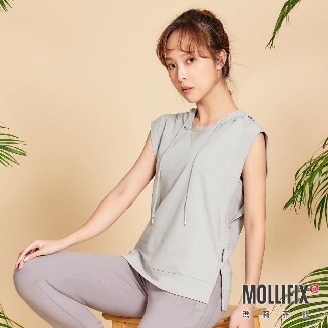 【Mollifix 瑪莉菲絲】造型抽繩休閒連帽背心(灰)