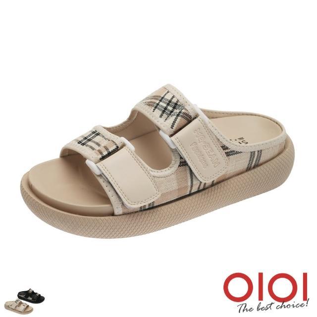 【0101】拖鞋 日系文青風格紋雙拼厚底涼拖鞋(共兩色)