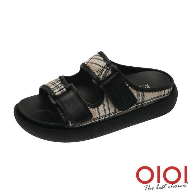 【0101】拖鞋 日系文青風格紋雙拼厚底涼拖鞋(黑)