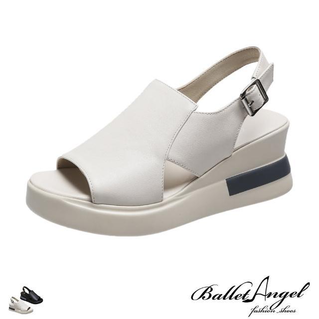 【BalletAngel】涼鞋 清新氣息不規則剪裁楔型涼鞋(共兩色)