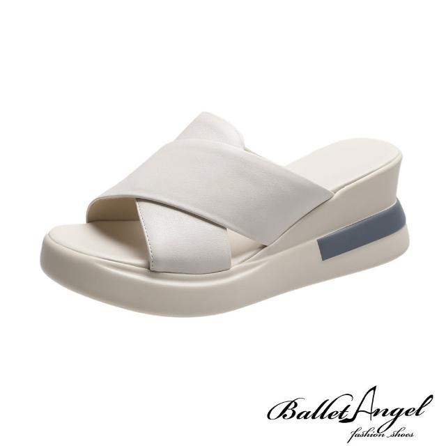 【BalletAngel】拖鞋 好感率真寬版交叉楔型涼拖鞋(米)