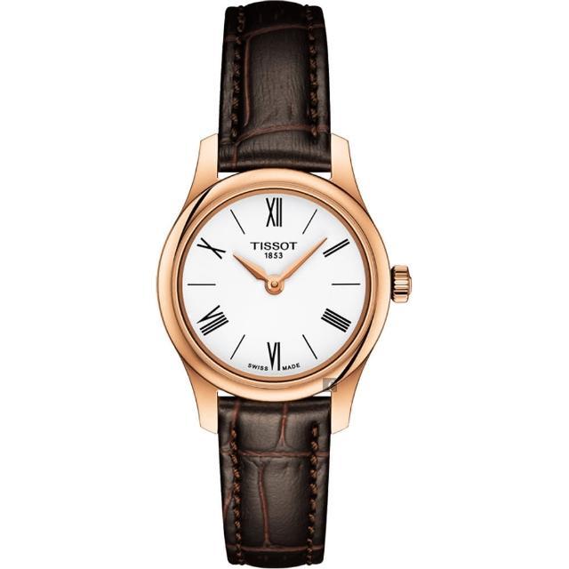 【TISSOT 天梭】Tradition 羅馬薄型石英女錶-白x咖啡/25mm(T0630093601800)
