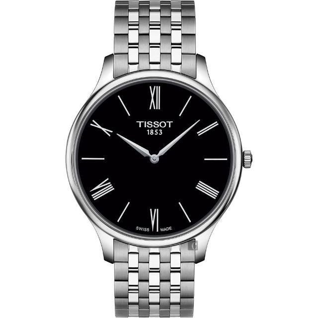 【TISSOT 天梭】Tradition 羅馬薄型石英錶-黑x銀/39mm(T0634091105800)