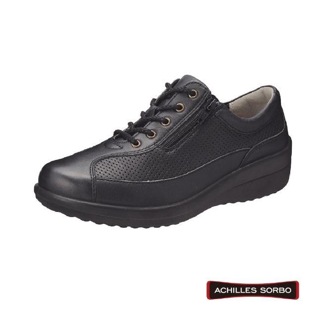 【A.S.O 阿瘦集團】ACHILLES SORBO 4E超寬楦/足底筋膜舒緩側拉鏈式健康鞋-SRL4420(黑)