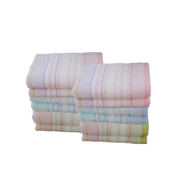 【台灣興隆毛巾】橫紋色紗毛巾 2打-24入混色(毛巾)