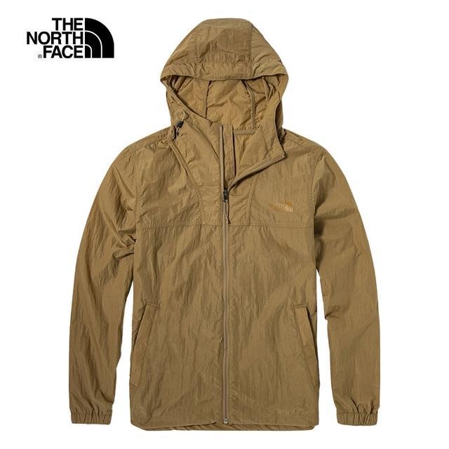 【The North Face】The North Face北面男款棕色防風防潑水可調節下擺連帽外套|5AZKPLX