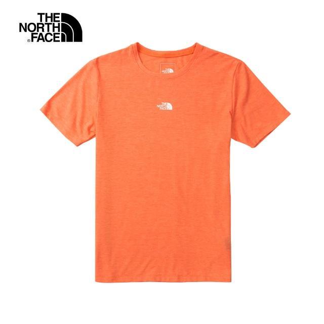 【The North Face】The North Face北面女款橘色吸濕排汗LOGO圓領短袖T恤|5B13W0P