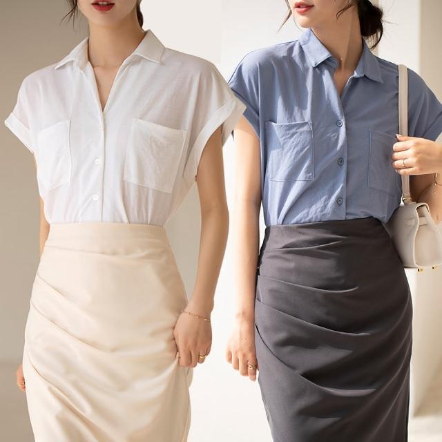 【Alishia】法式設計感輕熟翻領寬袖襯衫 M-L(現+預 黑色 / 白色 / 綠色 / 杏色 / 藍色)