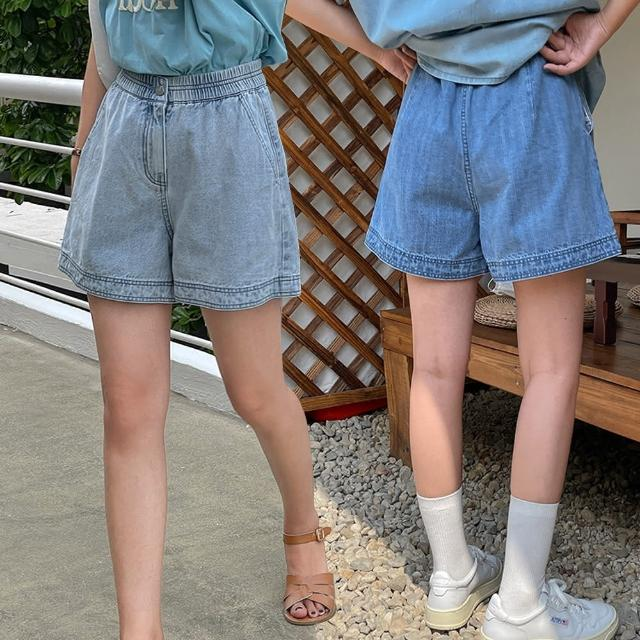 【Alishia】高品質顯瘦寬鬆闊腿A字牛仔短褲(現+預 藍色 / 淺藍色)