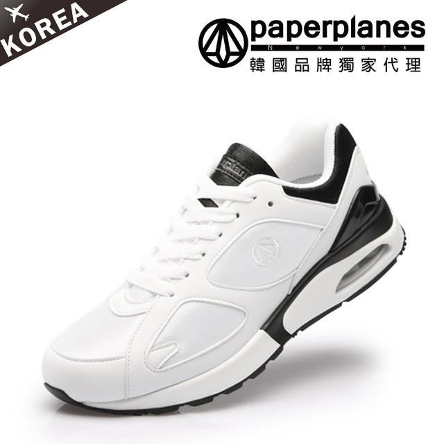 【Paperplanes】正韓製/韓國空運。情侶款黑白撞色男女氣墊運動鞋-正常版型(7-1450/現+預)