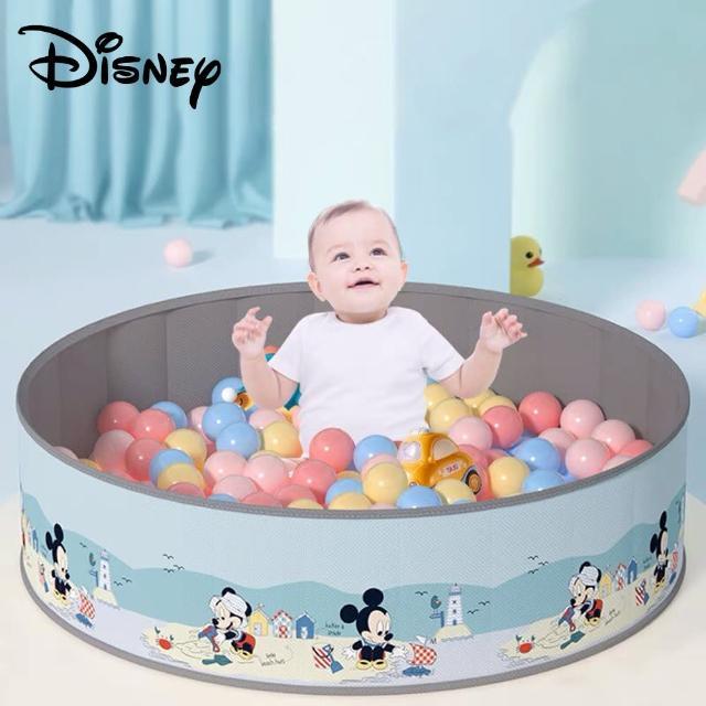 【Disney 迪士尼】米奇 米妮 輕便攜帶折疊無毒兒童海洋球池圍欄 120x 30cm + 馬卡龍色環保海洋球100顆