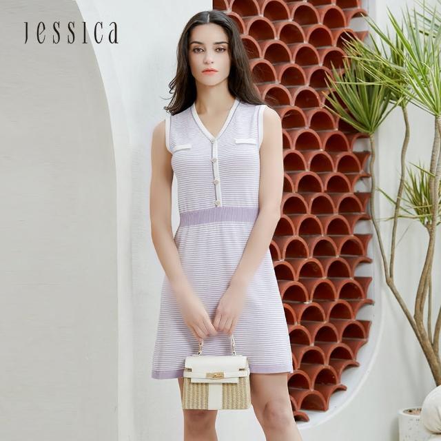 【JESSICA】氣質修身撞色條紋V領無袖針織洋裝(紫)