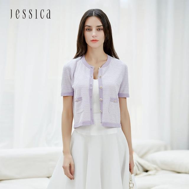 【JESSICA】百搭柔軟親膚撞色條紋針織短袖開衫(紫)