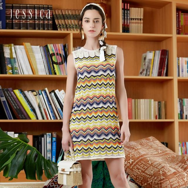 【JESSICA】清新撞色波浪條紋無袖針織洋裝