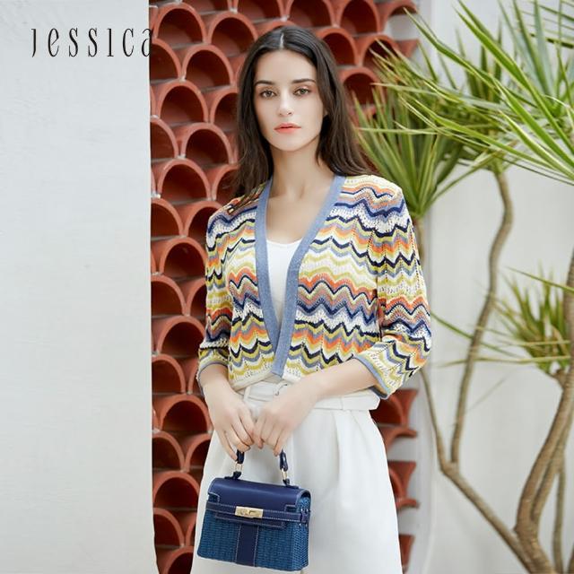【JESSICA】清新撞色波浪條紋鏤空七分袖針織開衫