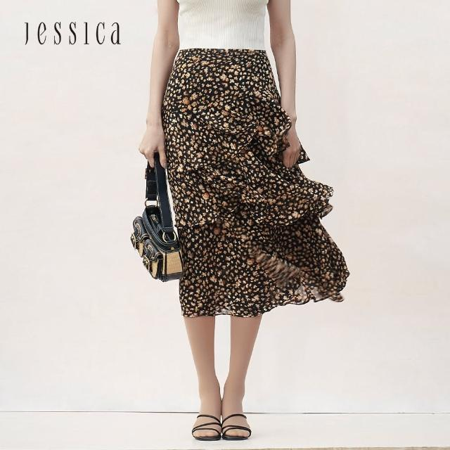 【JESSICA】百搭優雅荷葉褶皺雪紡印花長裙(黑棕)