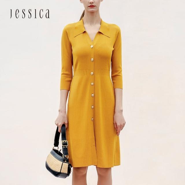 【JESSICA】雅緻修身V形小翻領百褶線條針織洋裝(黃)