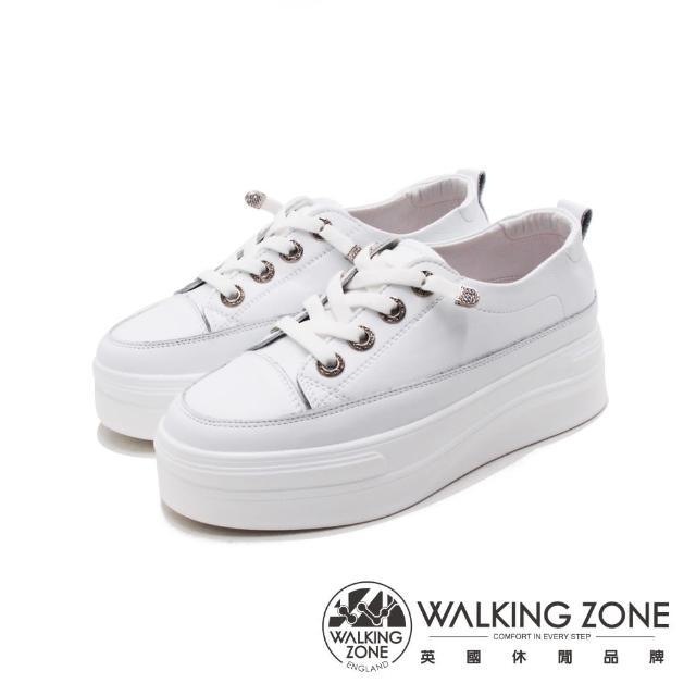 【WALKING ZONE】女 小鑽飾車白線增高厚底休閒 女鞋(白)