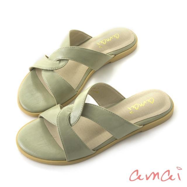 【amai】韓系復古交叉拖鞋(綠)