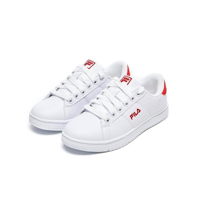 【FILA】女鞋 休閒鞋 女綁帶板鞋運動鞋-白/紅(5-C617V-112)