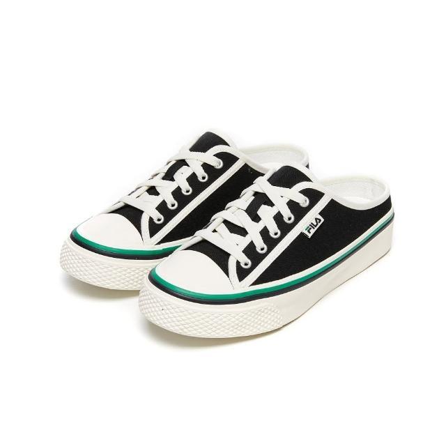 【FILA】男女款 帆布鞋 穆勒鞋 SCANLINE MULE 帆布穆勒鞋-黑(4-C622V-001)