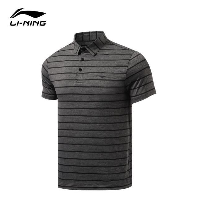 【LI-NING 李寧】運動必備短袖POLO衫 混色黑色(APLR065-1)