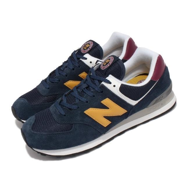 【NEW BALANCE】休閒鞋 574 復古 經典 情侶鞋 男女鞋 紐巴倫 麂皮 網布 N字鞋 穿搭推薦 藍 黃(ML574HW2-D)