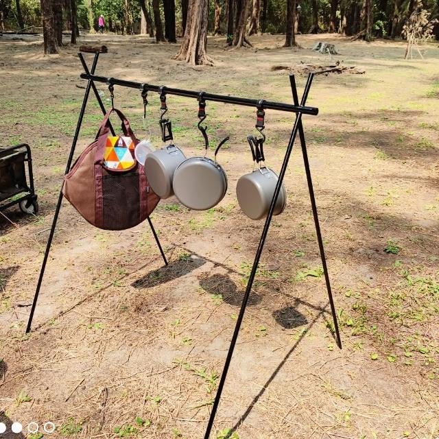 【May shop】戶外露營置物架 旅遊野營三角架 衣物架 整理架 餐具架