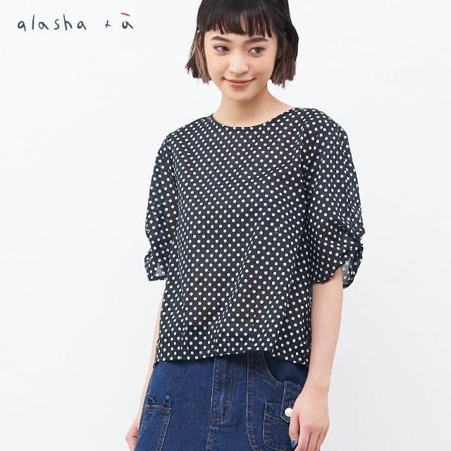 【a la sha+a】抓褶袖後綁結點點上衣