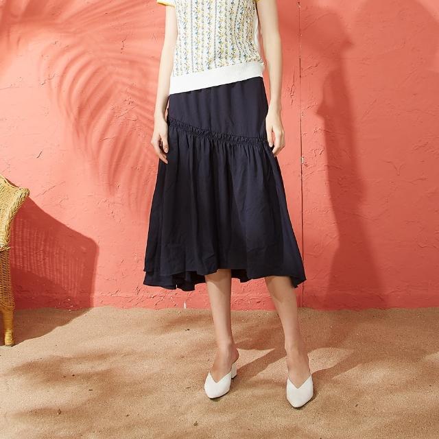 【CUMAR】抽皺設計不規則-女長裙(二色/版型適中)