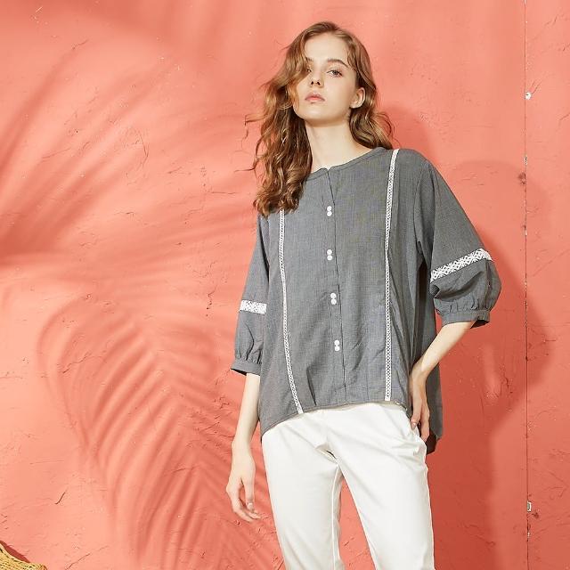 【CUMAR】蕾絲拼接設計休閒-女七分袖襯衫(黑色/魅力商品/版型適中)