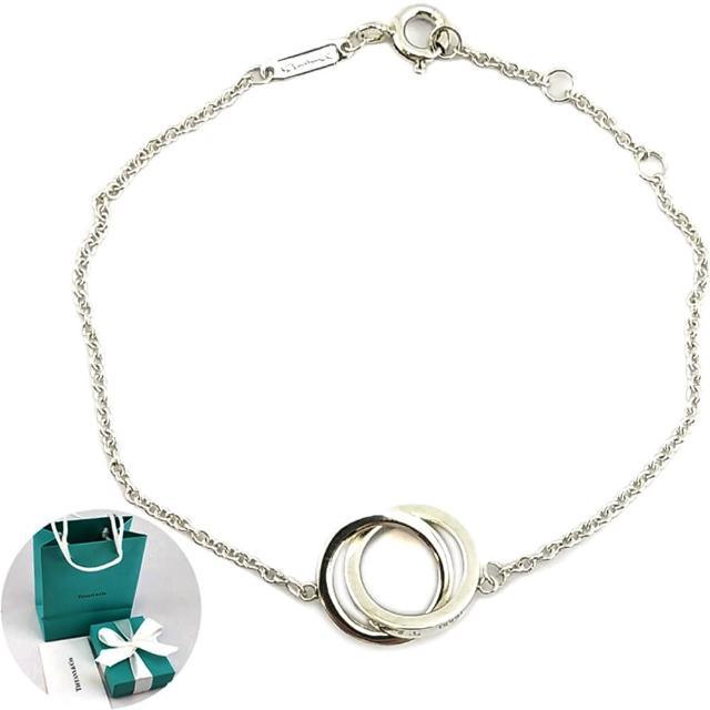 【Tiffany&Co. 蒂芙尼】1837系列-雙戒環墜飾925純銀手鍊