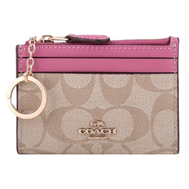 【COACH】雙色防刮LOGO皮革卡夾/鎖圈零錢包(淺卡其X粉)