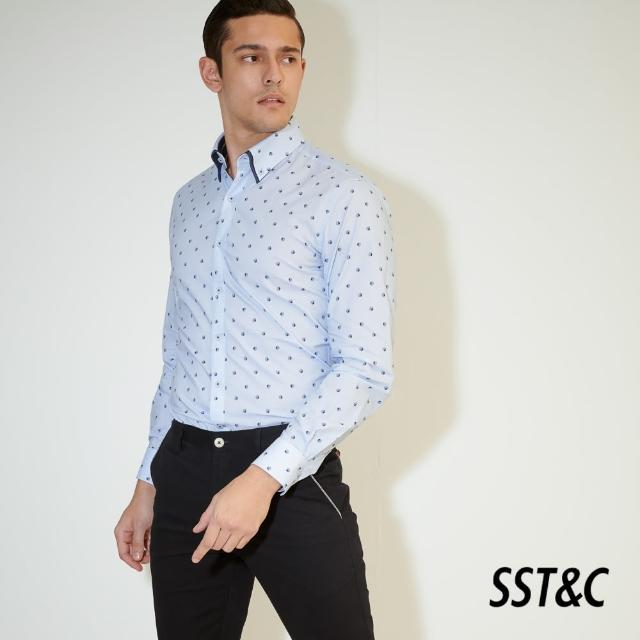 【SST&C】藍底貝殼印花修身款長袖襯衫0312103022
