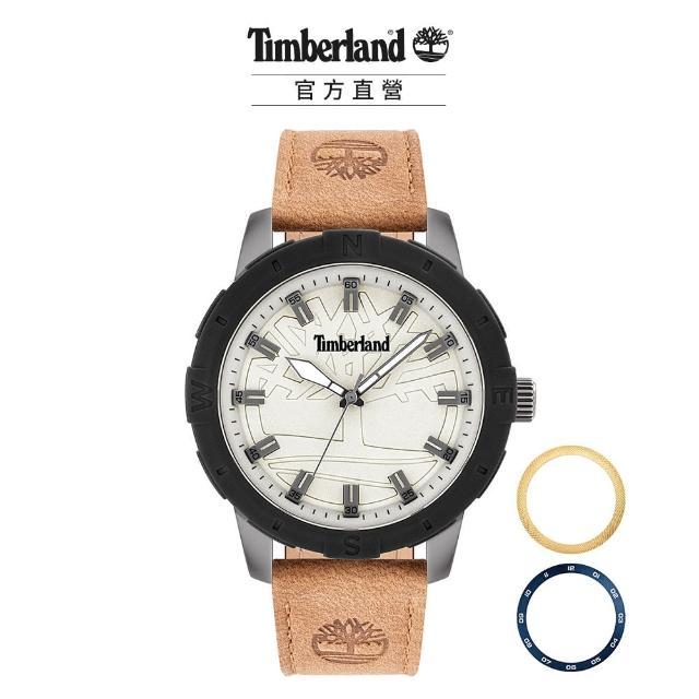 【Timberland】男款 MAYBURY系列 美式休閒腕錶 皮帶 錶圈套組-白/小麥黃46mm(TBL.15949JSUB/63SET)