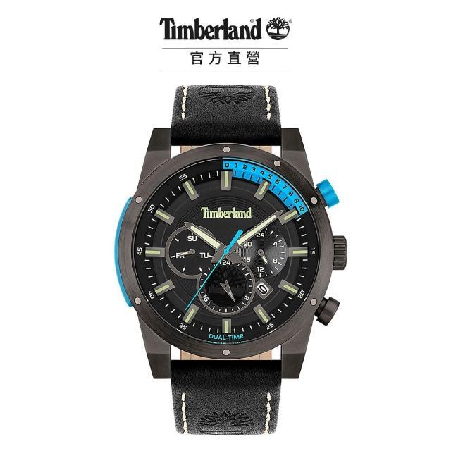 【Timberland】男款 SHERBROOK系列 戶外多功能腕錶 皮帶-藍/黑46mm(TBL.15951JSU/02)