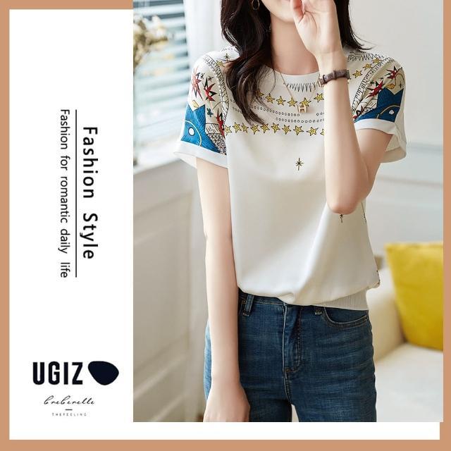 【UGIZ】修身溫柔個性可愛圖案圓領造型上衣(M-XL)