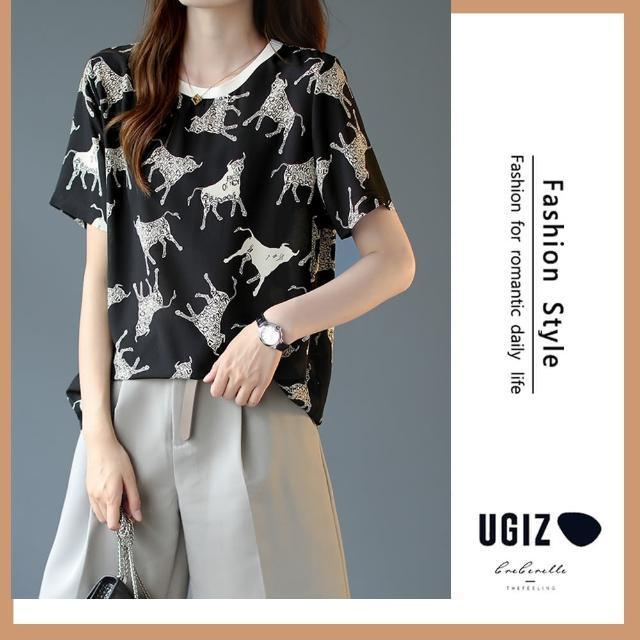 【UGIZ】修身時尚溫柔個性動物圖案圓領造型上衣(M-XL)