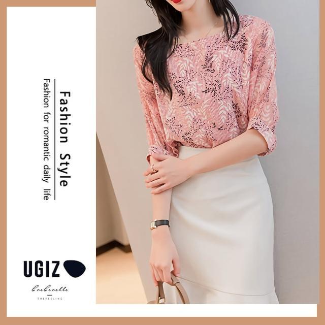【UGIZ】修身溫柔浪漫植物圖案方領造型上衣(M-XL)