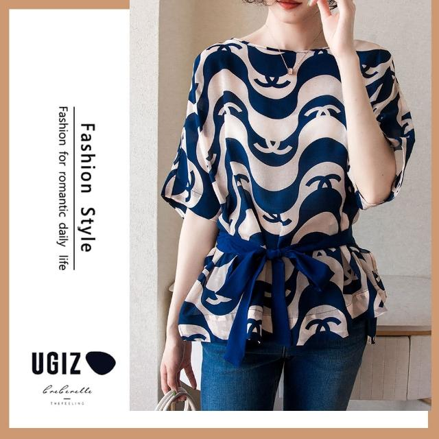 【UGIZ】修身復古名媛風繫繩收腰圓領造型上衣(M-XL)