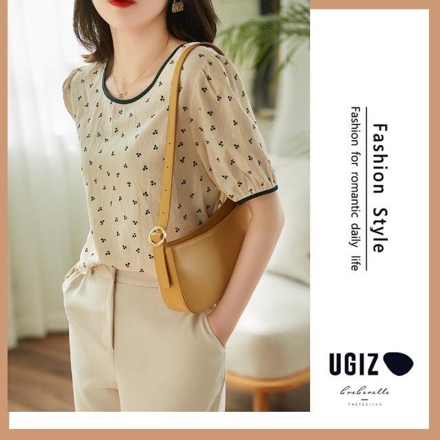 【UGIZ】修身個性百搭幾合圖案圓領造型上衣(M-XL)